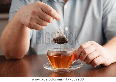 Teabag In The Cup With Hot Water