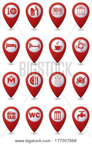Services icons set on red map pointers. Vector illustration