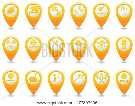 Tennis Baseball American football golf and bowling icons set on map pointers
