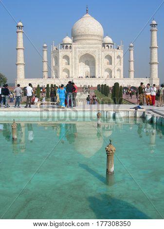 Taj Mahal Mausoleum In Agra, India