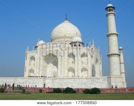 Iconic View Of The Taj Mahal Mausoleum
