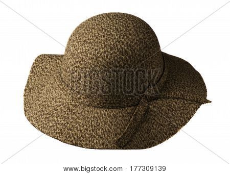 Fedora Hat Isolated On White Background .fedora Hat With Brim. Brown Hat