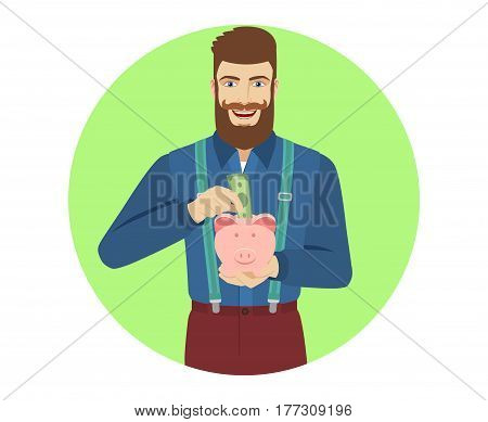 Hipster puts banknote in a piggy bank. Portrait of hipster in a flat style. Vector illustration.