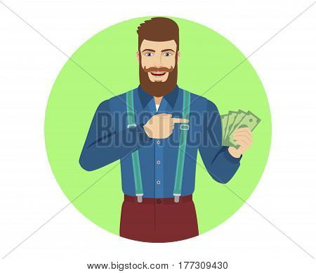Hipster pointing at cash money in his hand. Portrait of hipster in a flat style. Vector illustration.