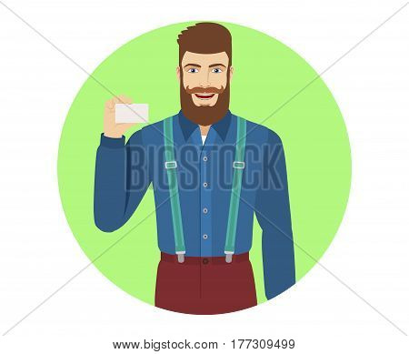 Hipster showing the business card. Portrait of hipster in a flat style. Vector illustration.