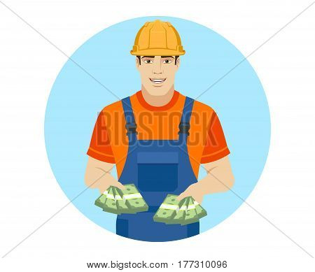 Builder with cash money. Portrait of builder in a flat style. Vector illustration.