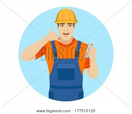Call me! Builder showing us a call me sign. Portrait of builder in a flat style. Vector illustration.