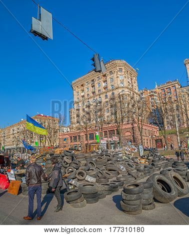 KIEV, UKRAINE - MARCH 22, 2014: Barricades on the Khreshchatyk street still stand because people distrust politicians and waiting for the Presidential elections.