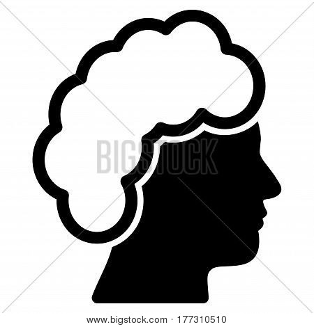 Blonde Profile vector icon. Flat black symbol. Pictogram is isolated on a white background. Designed for web and software interfaces.