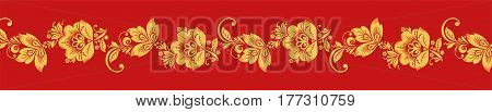 Gold and red hohloma seamless decoration vector. Russian traditional folk. Classic khokhloma art