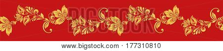 Gold and red hohloma seamless line vector. Russian traditional folk. Classic khokhloma decoration ornament