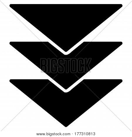 Downloads Direction vector icon. Flat black symbol. Pictogram is isolated on a white background. Designed for web and software interfaces.
