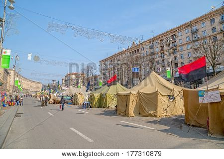 KIEV, UKRAINE - MARCH 22, 2014: People still living at Maidan square to maintain Revolution because people distrust politicians and waiting for the Presidential elections.