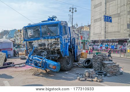 KIEV, UKRAINE - MARCH 22, 2014: Destroyed police track at Khreshchatyk street near barricades.