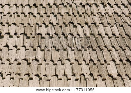 Image of Background of the Wooden Roof Tiles