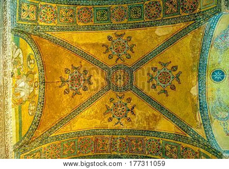 ISTANBUL, TURKEY - SEPTEMBER 27: Ceiling in Hagia Sophia ancient basilica on September 27th, 2013 Istanbul, Turkey. Hagia Sophia served as a model for many other Ottoman mosques.