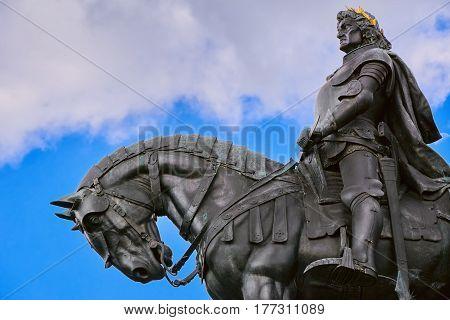 King Matthias Corvin Statue in Cluj-Napoca Romania