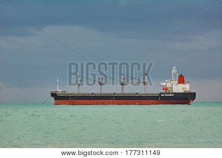 Dry Cargo Ship at Anchorage in Black Sea