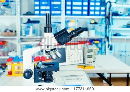 Microscope in laboratory interior