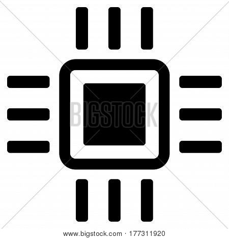 Processor vector icon. Flat black symbol. Pictogram is isolated on a white background. Designed for web and software interfaces.