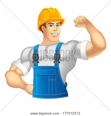 Strong Construction Worker. Muscular builder. Vector illustration.