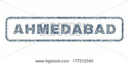 Ahmedabad text textile seal stamp watermark. Blue jeans fabric vectorized texture. Vector caption inside rounded rectangular shape. Rubber emblem with fiber textile structure.
