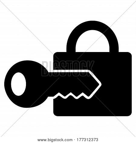 Registration Key vector icon. Flat black symbol. Pictogram is isolated on a white background. Designed for web and software interfaces.