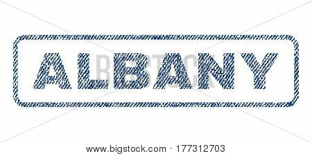 Albany text textile seal stamp watermark. Blue jeans fabric vectorized texture. Vector tag inside rounded rectangular banner. Rubber sign with fiber textile structure.