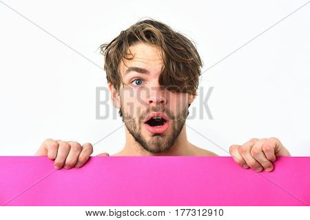 Bearded Man, Caucasian Sexy Surprised Macho