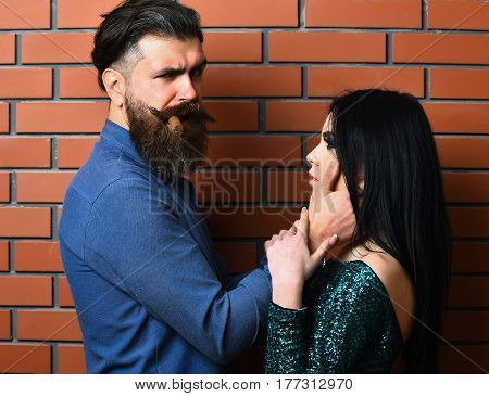 Bearded Man And Pretty Sexy Woman With Cigar