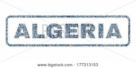 Algeria text textile seal stamp watermark. Blue jeans fabric vectorized texture. Vector caption inside rounded rectangular banner. Rubber sticker with fiber textile structure.