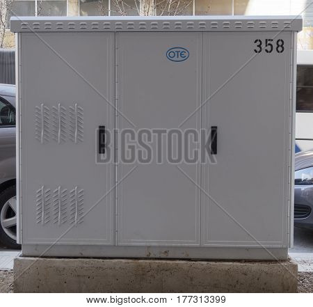 Thessaloniki, Greece - March 15 2017: Installed OTE DSLAM fiber optics cabinet. Broadband telecommunications cabin for OTE Greek Telecommunications Company at Vasilissis Olgas street.