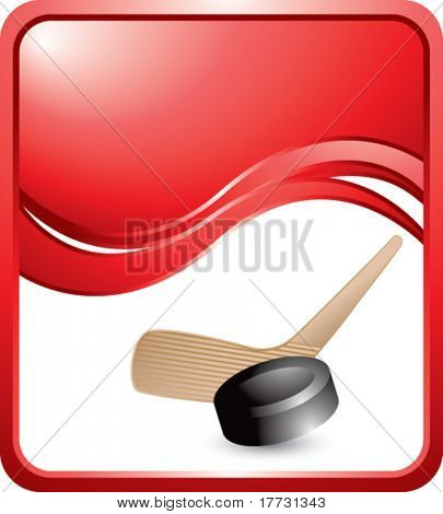 hockey stick and puck red wave background