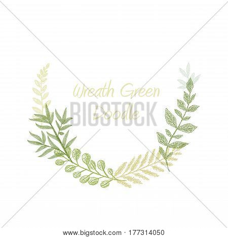 Green doodle hand drawn herb border vector, greeting, invitation or wedding card template. Greenery leaf frame. Spring floral wreath
