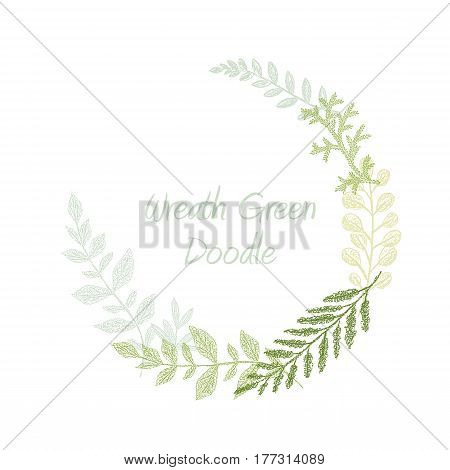 Greenery scribble hand drawn herb border vector, greeting, invitation or wedding card template. Green leaf frame. Spring floral wreath
