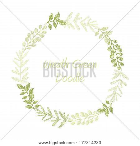 Green hand drawn leaves wreath vector, greeting, invitation or wedding card template. Greenery spring floral frame