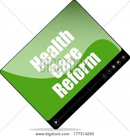 Video Player For Web With Health Care Reform Words