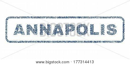 Annapolis text textile seal stamp watermark. Blue jeans fabric vectorized texture. Vector tag inside rounded rectangular banner. Rubber sign with fiber textile structure.