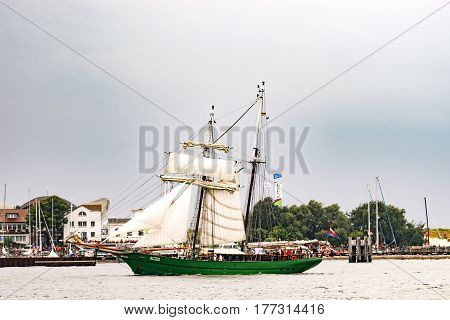 Rostock, Germany - August 2016: Sailing ship Avatar on the baltic sea. Hanse-Sail Warnemuende at port Rostock, Mecklenburg-Vorpommern, Germany. Tall Ship.Yachting and Sailing travel. Cruises and holidays