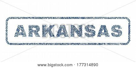Arkansas text textile seal stamp watermark. Blue jeans fabric vectorized texture. Vector caption inside rounded rectangular banner. Rubber sticker with fiber textile structure.
