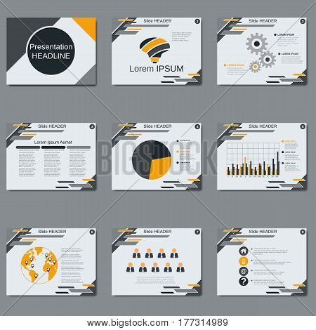 Professional business presentation, slide show vector design template. White background with abstract geometric elements