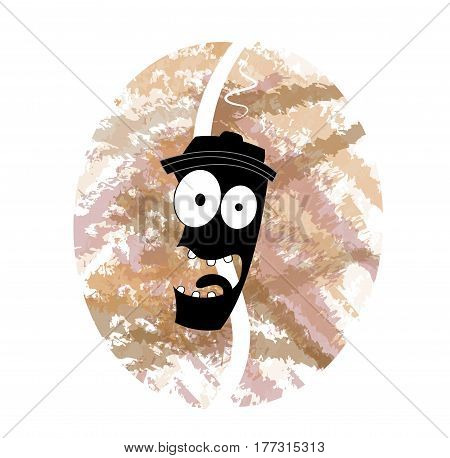 Abstract illustration of coffee to go in cute cartoon style. Vector
