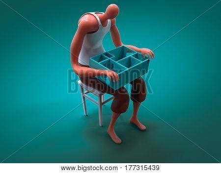 Cartoon Man Holding Miniature Of His New Apartament On Lap. 3D Illustration