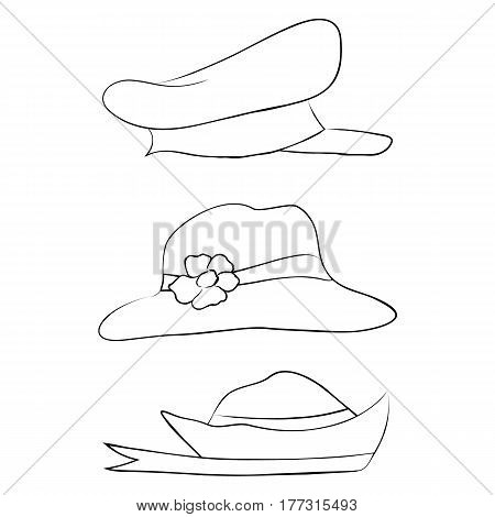 Vector collection of hats for men women and children icons set different types of hats