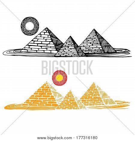 egypt, vector, desert, egyptian, travel, africa, illustration, pyramid, ancient