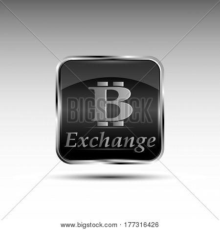 The vector button with bit-coin symbol.Exchange bit-coin
