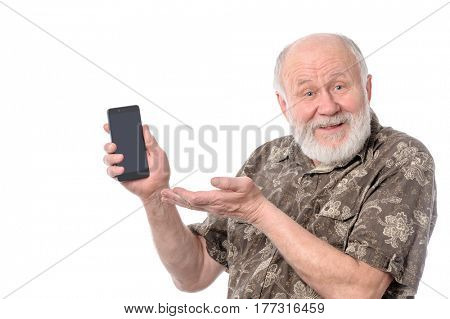 Senior upset bald and bearded white haired man showing something at smartphone screen, isolated on white background