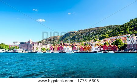 View on wooden houses of old own of bryggen in Norway