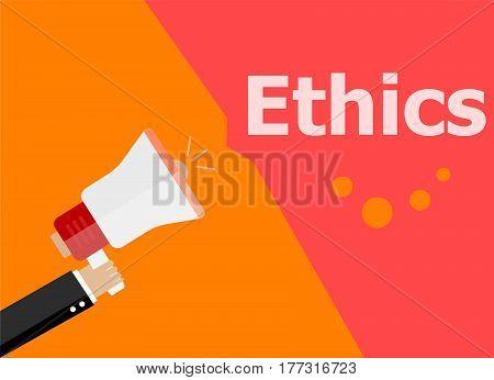 Flat Design Business Concept. Ethics Digital Marketing Business Man Holding Megaphone For Website An