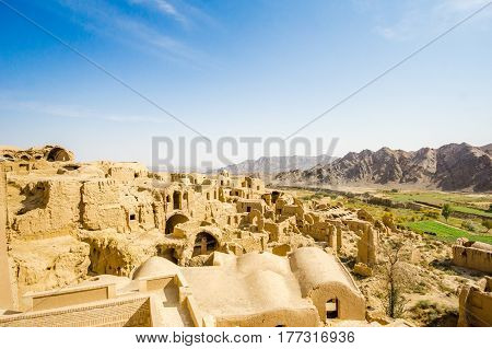 Panoramic view over ghost town of kharanaq by Yazd